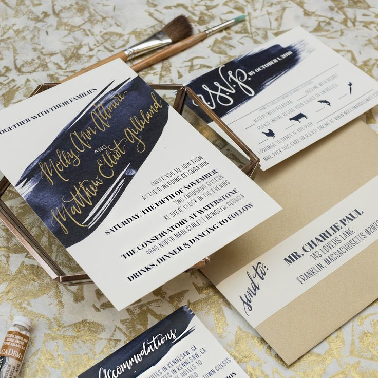 next day wedding invitations%0A navy brush stroke and gold foil wedding invitation  modern wedding design   Wouldn u    t