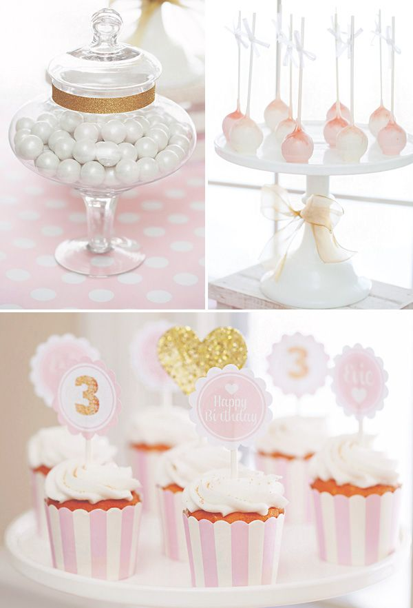 Sparkly Pink  Gold 3rd Birthday Party. Pretty ideas for a shower, though!