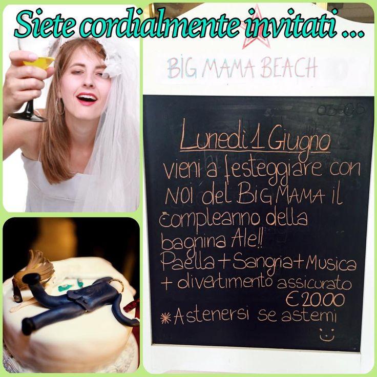 Siete cordialmente invitati alle celebrazioni ... Ops!! ...al compleanno di Alessandra!! Vietato mancare! #BigMamaBeach #compleanno #festa #sangria #musica #divertimento