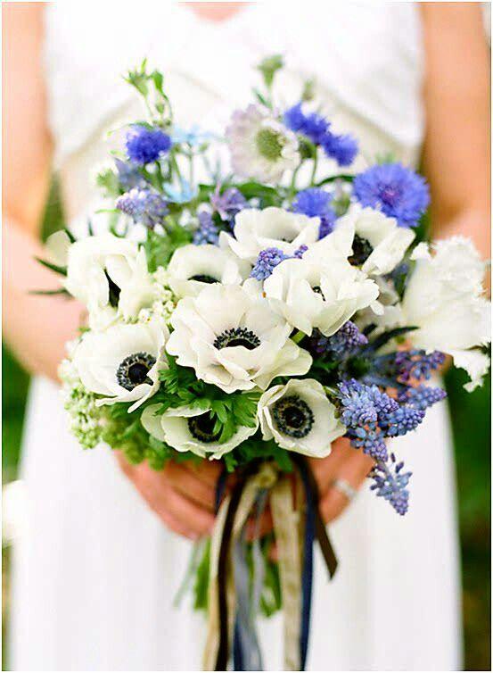 Pretty Hand Tied Bridal Bouquet: White Anemones, White Fringed Tulips, Blue Grape Muscari Hyacinth, Blue Cornflower, Blue Tweedia, Lavender Scabiosa, Greenery