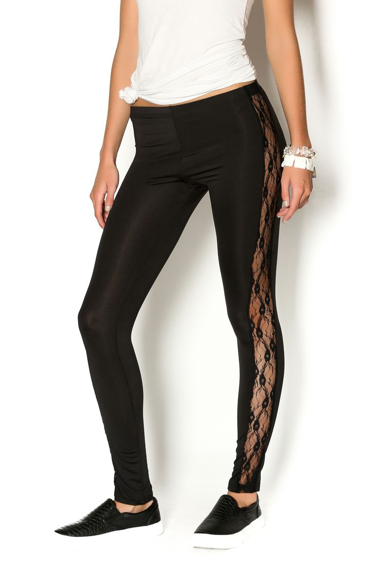 Black legging style pants with lace accented sides. These pants are perfect for casual days.   Rock Lace Pants by Gliter Rock. Clothing - Bottoms - Pants & Leggings - Leggings Brooklyn, New York City