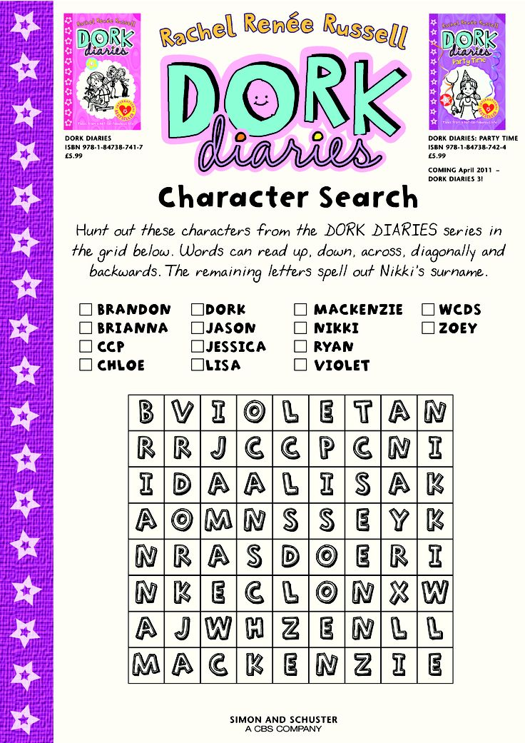Dork Diaries Character Search Classroom Fun