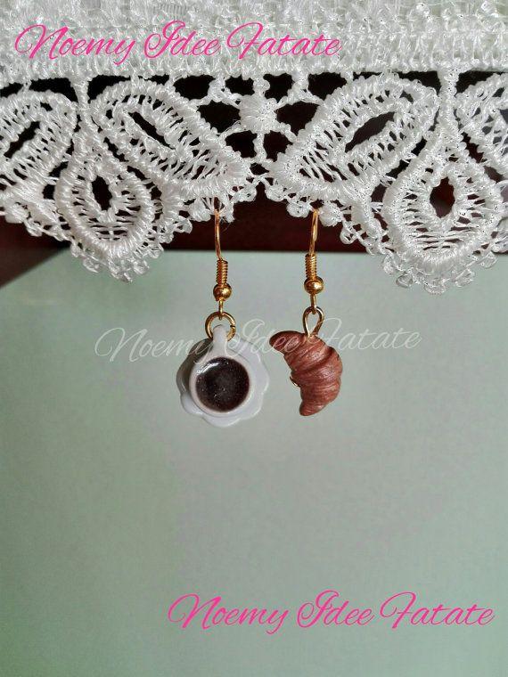 Guarda questo articolo nel mio negozio Etsy https://www.etsy.com/it/listing/240130064/orecchini-tazza-di-caffe-e-cornetto-in