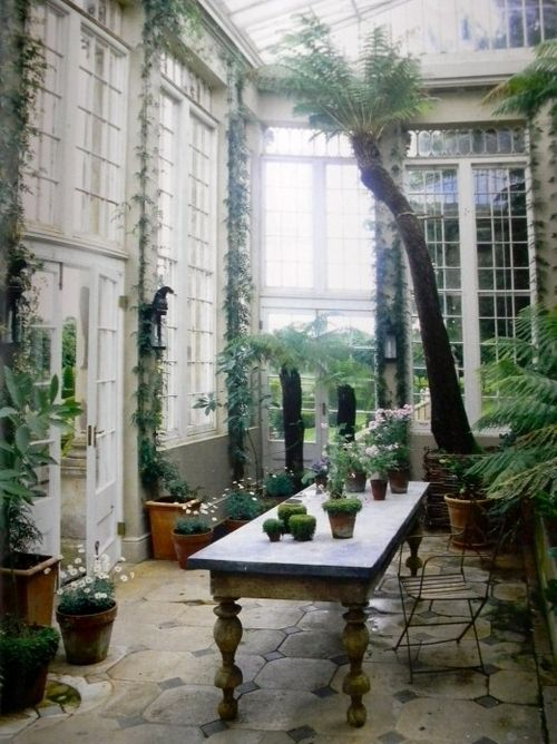 work areaGreen Houses, Conservatory, Sunrooms, Dreams, British Fashion, English Country, Greenhouses, Gardens, World Of Interiors
