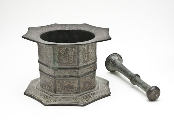 Mortar and Pestle (ca. early 13th century). Iran or Afghanistan, probably Khurasan. Posted on lacma.org.