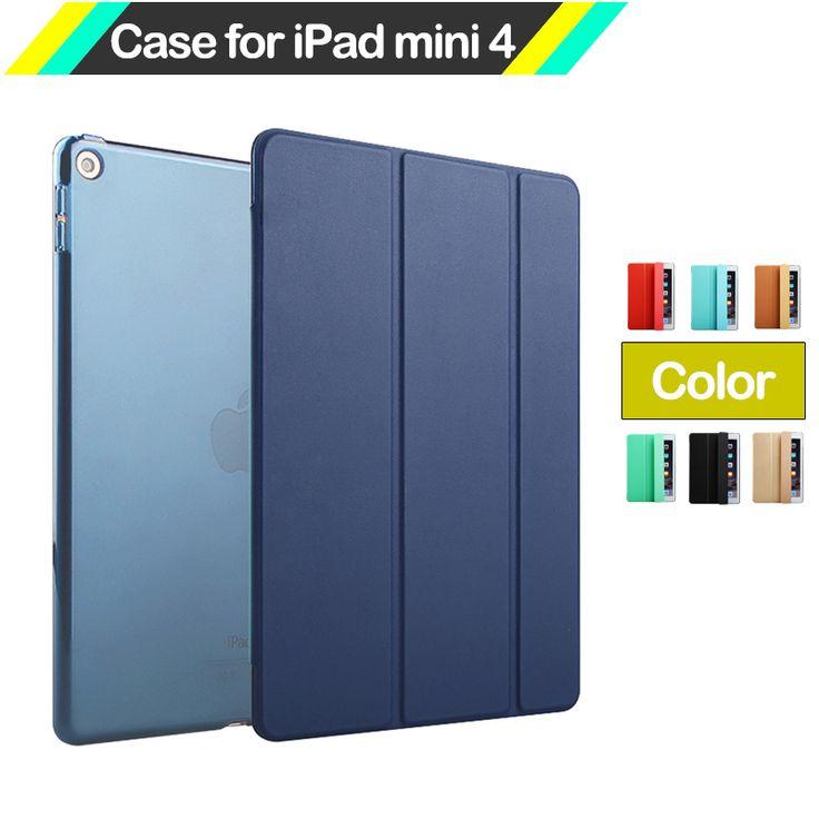 For iPad Mini 4 Case ,Fashion Smart Ultra Slim Magnetic Leather Back Cover for Apple Mini iPad 4