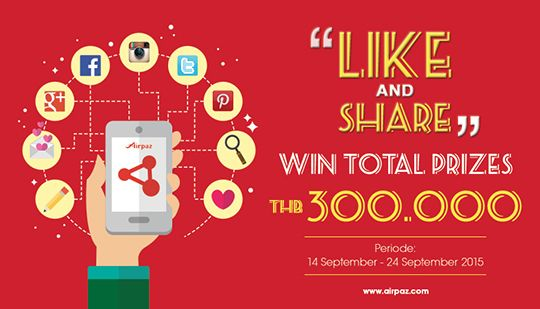 Hello Thailand ! Let's Get Fun with Airpaz Contest and win Total Prizes THB 300.000 ! Info : http://ow.ly/Sdp87  #Airpaz #Contest #Thailand #LIkeAndShare