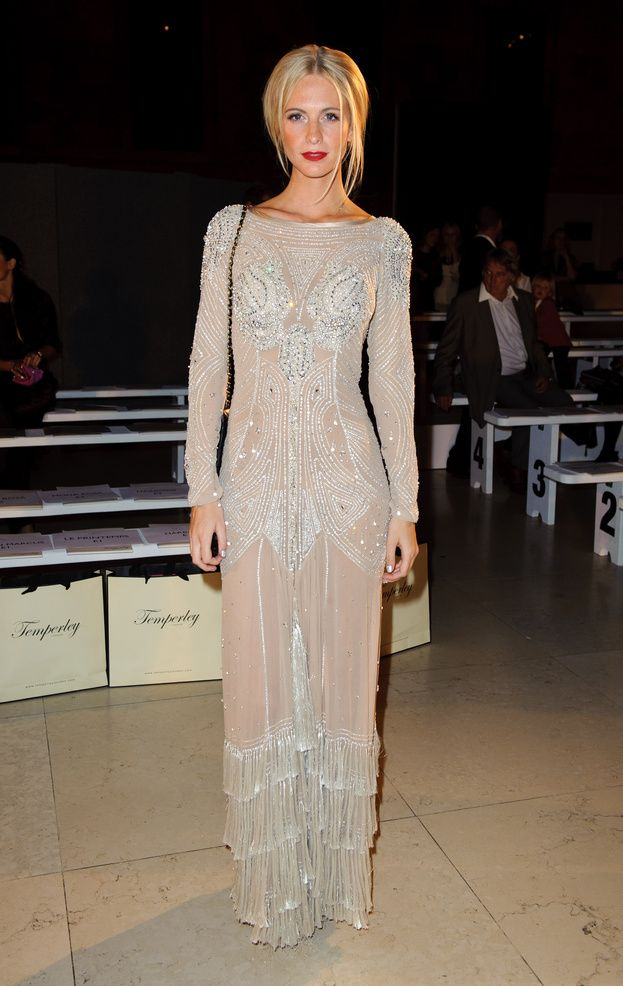 Poppy Delevingne wearing the Long Silvia Tattoo Dress, to the Temperley Spring Summer 2012 catwalk show