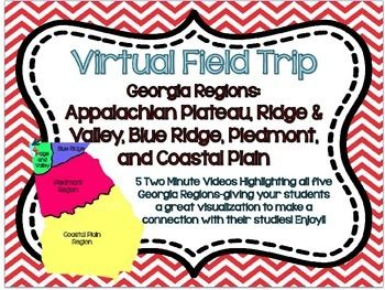 My students have LOVED these virtual field trip videos!  Such a wonderful way to show students pictures of a region without actually visiting! Georgia Performance Standards (GPS)-5 Georgia RegionsEach video is 2 minutes and 20 seconds.Videos that are included:Appalachian PlateauValley and RidgeBlue RidgePiedmontCoastal PlainTo get a preview, be sure to check out my Appalachian Plateau Video for FREE here…