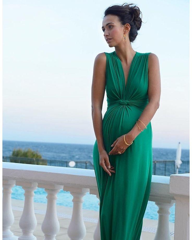 Seraphine Jo - Abito Elegante Premaman - Verde Smeraldo - (perfetto anche da cerimonia) Vestiti