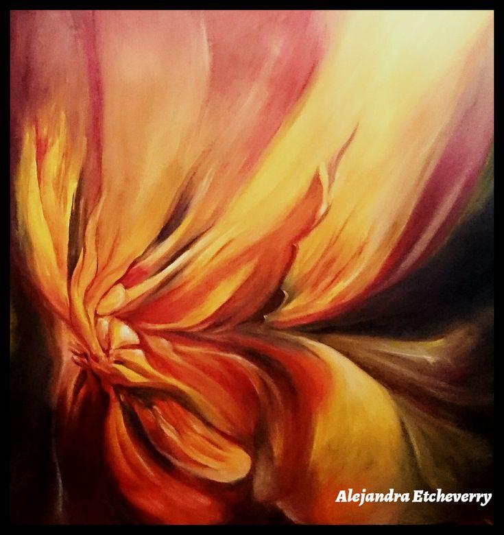 Título: Flor de Fuego - Oleo sobre tela (80cm x 80cm) - San Luis, Argentina - Autora: Alejandra Etcheverry
