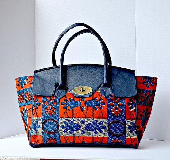 African Fabric Handmade Bag Ankara Design African by ZabbaDesigns