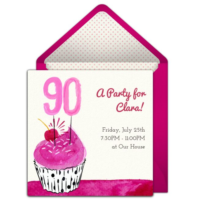 Customizable, free 90th Cupcake online invitations. Easy to personalize and send for a 90th birthday party. #punchbowl