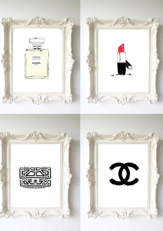 4 chanel dream prefume - original Illustration art print - A4 Size - black and white Poster - black Background
