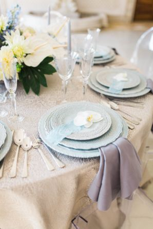 Blue and Ivory Wedding Table