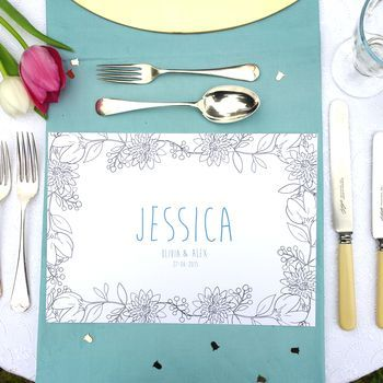 Personalised Colouring In Floral Table Mat