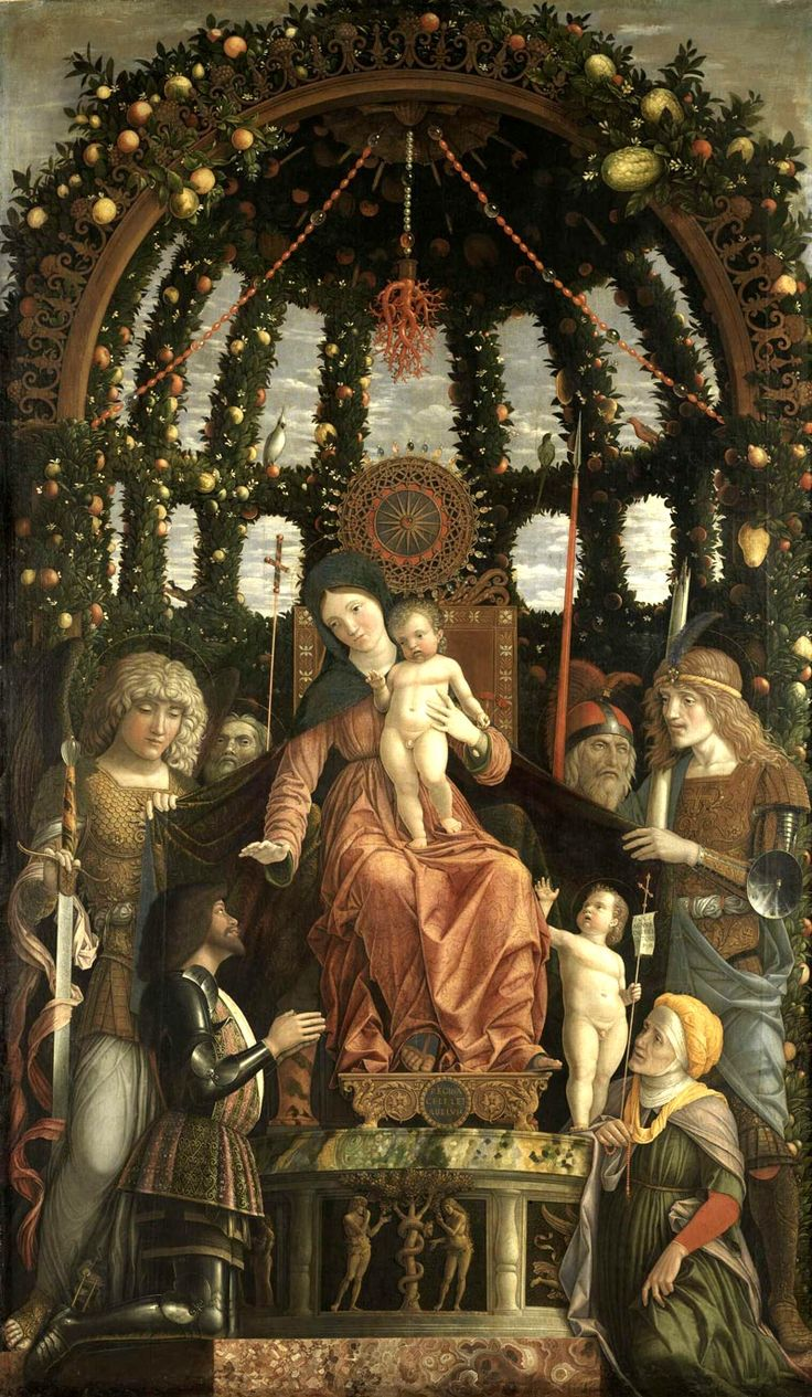 What a gorgeous painting!!! 'Madonna della Vittoria' (1495-96) by Italian Renaissance painter Andrea Mantegna (c.1431-1506). Tempera on canvas, 110 × 65 in. via the Louvre mini-site