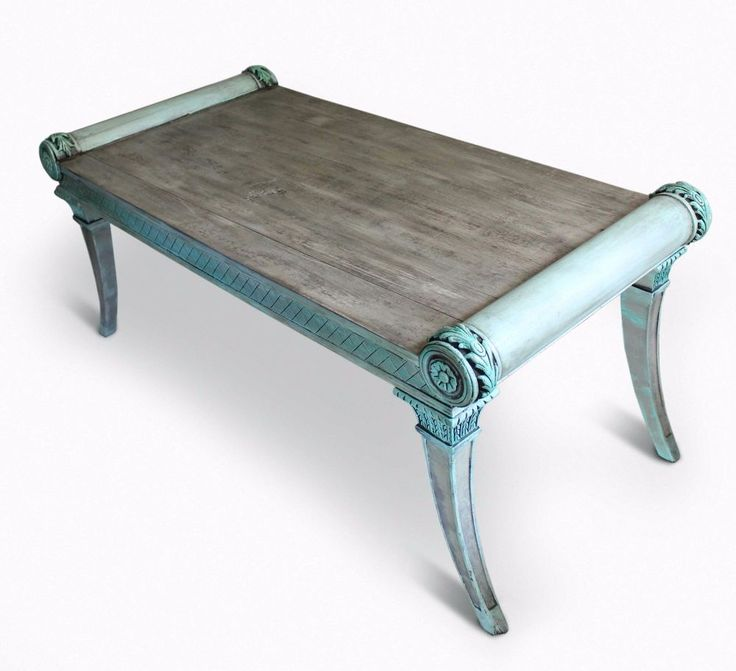 Antique coffee table,encarved,weathered wood,turquoise,shabby,chalk paint,greek in Home & Garden, Furniture, Tables   eBay