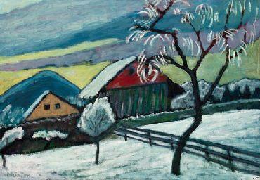 gabrielle munter paintings   Gabriele Münter (1877-1962)   Winterlandschaft bei Kochel am See ...
