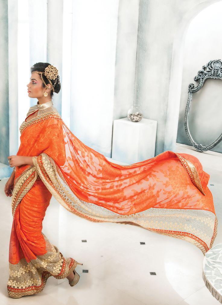 Orange Bulk Designer Saree With Lace Border Work