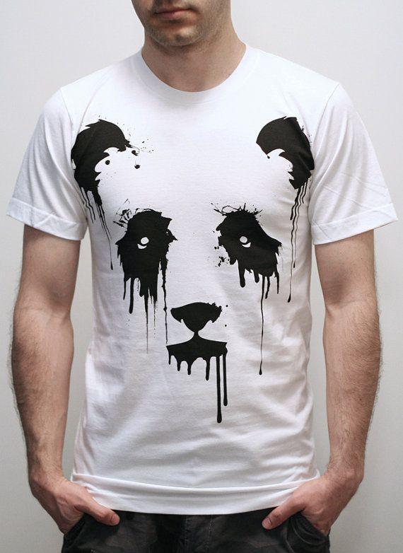 Vanishing Panda on American Apparel Mens t shirt by EngramClothing
