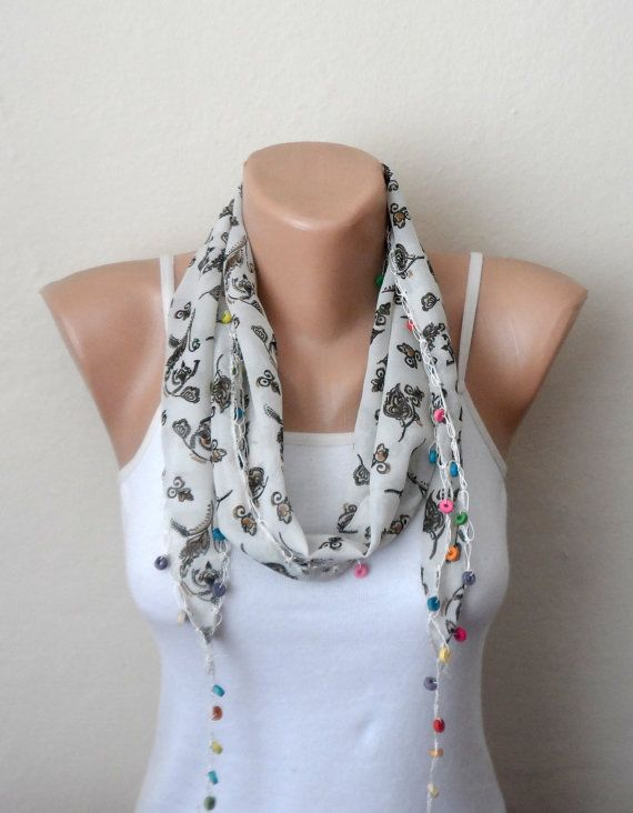 white scarf green flower blue purple pink beads  by DamlaScarf