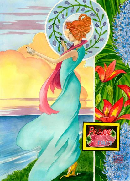 """""""Fruit of Peace"""" watercolor ©Sara Drescher. Read the meaning and order prints of this painting on the website: http://www.saradrescher.com/series/fruit-of-the-spirit-series/"""