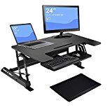 Hans & Alice 36'' Height Adjustable Stand Up Desk Standing Desk Riser, Sit Stand Desk Converter with... Product Specifications   Max.loading weight capacity : 33 lbs  Work surface measures: https://thehomeofficesupplies.com/hans-alice-36-height-adjustable-stand-up-desk-standing-desk-riser-sit-stand-desk-converter-with-keyboard-tray-and-anti-fatigue-comfort-mat/