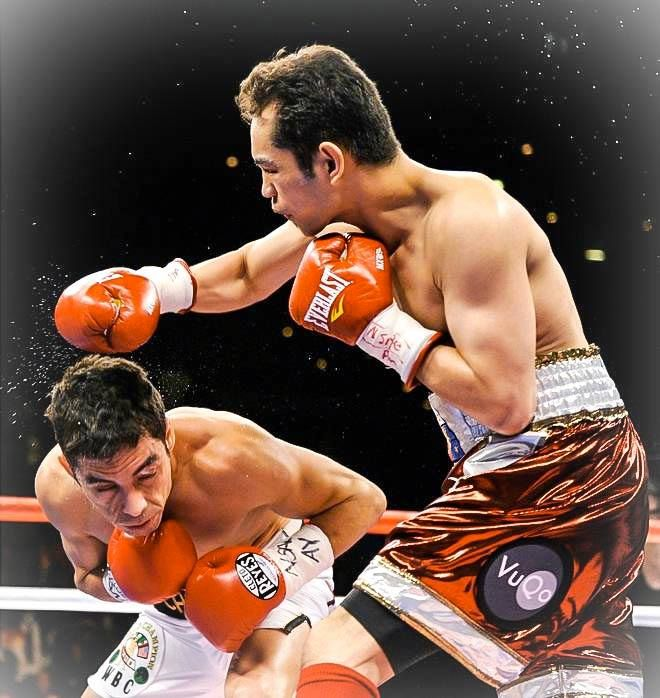 """Nonito """"The Flash"""" Donaire in 2011 sporting a VuQo badge when he made ESPN's KNOCKOUT OF THE YEAR against Fernando Montiel."""