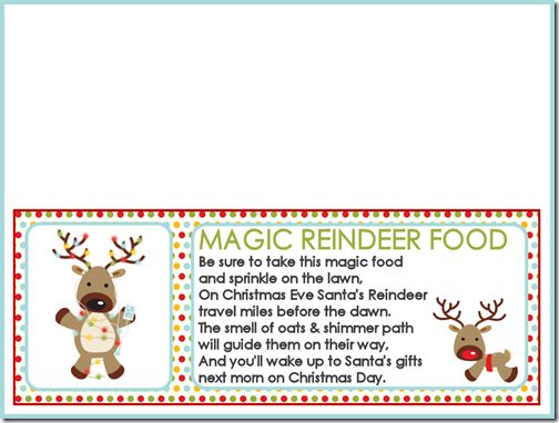 Magic Reindeer Food Printable bag toppers and Recipe