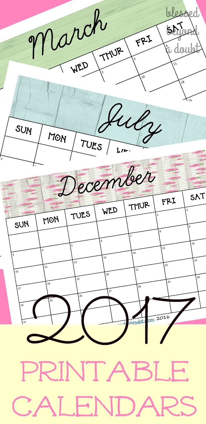 Free 2017 monthly printable calendars  for many uses. They are so pretty and simple. Enjoy!