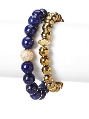 58% OFF Sisco + Berluti Lapis & Gold Pyrite Bracelet Stack