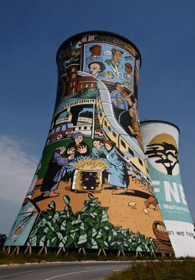 Africa | Thermal power station towers in Soweto, Gauteng provice, South Africa | ©Michel Renaudeau
