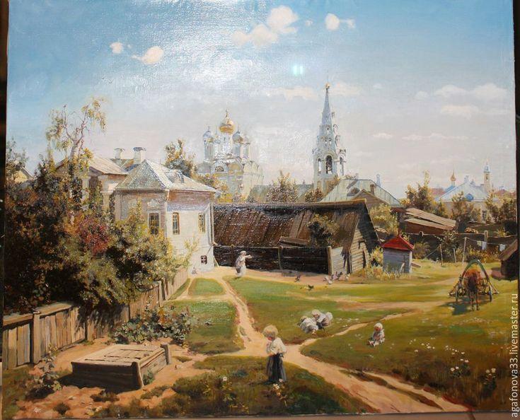 Купить Копия картины Московский дворик 64х80 - разноцветный, пейзаж, поленов, копия картины, копия