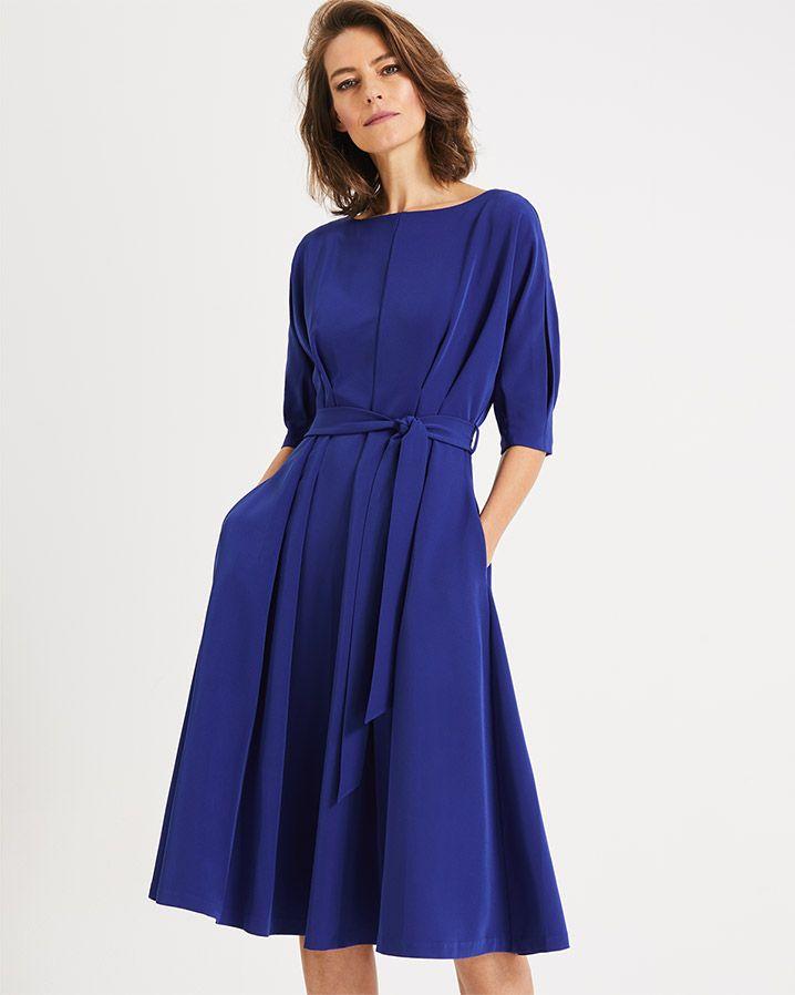 Phase Eight Cleo Tie Waist Dress Blue 00 Ig Art In 2019 Dresses