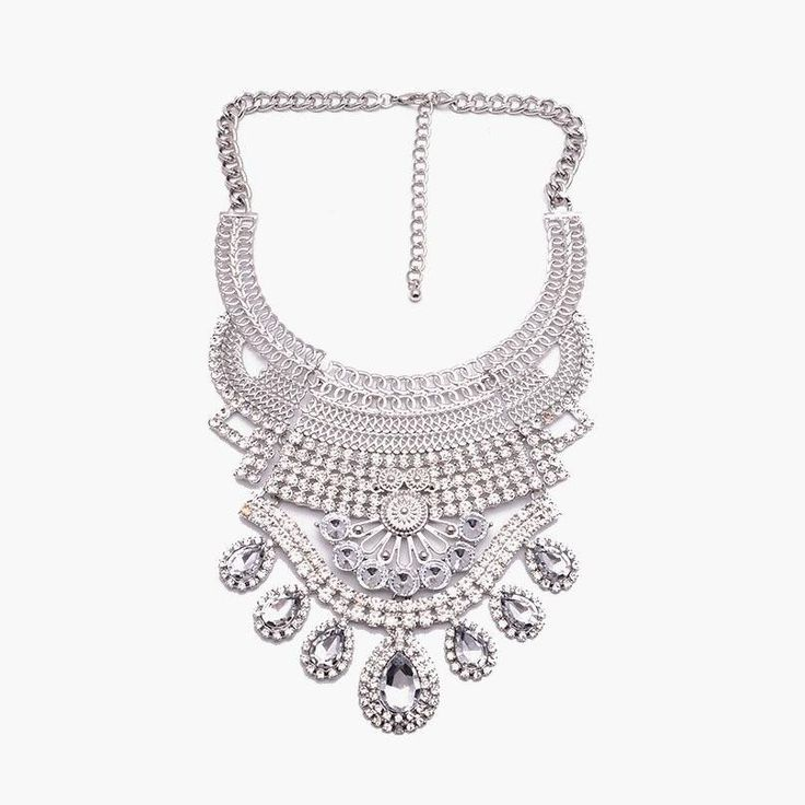 Fashion Statement Necklace - Yasmeen Ethnic Rhinestone-Studded Necklace With Crystal Fringe