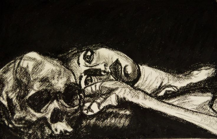 Sketch of a girl with skull (compressed charcoal on textured paper)
