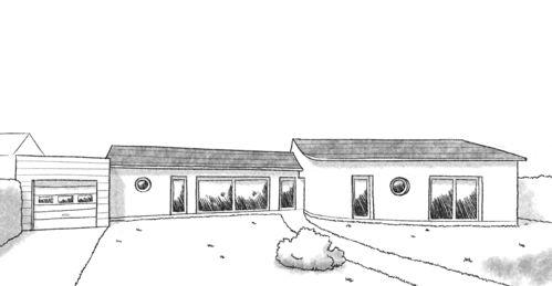 Plan de maison en V de 150 m²