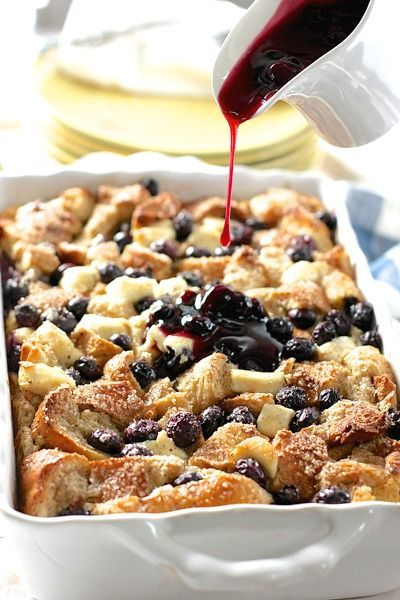 Blueberry and Cream Cheese French Toast Casserole with easy Blueberry Sauce