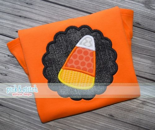 Candy Corn Scallop|Halloween Applique Design