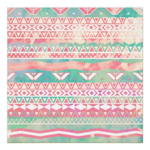 Watercolor Turquoise Pink Girly Abstract Aztec Posters