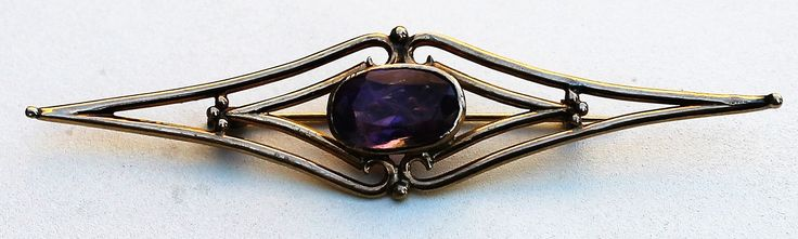 Victorian/Edwardian Style Handmade  Brooch 18 K Yellow Gold and Amethyst Unique design Elegant present for a lady by semelesparlour on Etsy