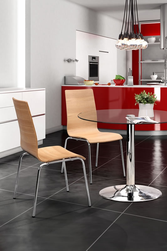 Bosonic Ceiling Lamp, Galaxy Dining Table, Tierra Dining Chair