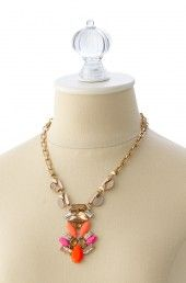 Pink, Orange & Gold Necklace | Pop Geo Pendant Necklace