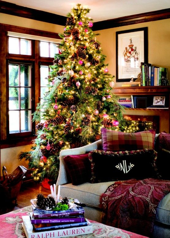 Merry Christmas!! This is an English inspired beauty...I can even see a coat of arms on the wall...great window casements, wall color, furniture, everything: