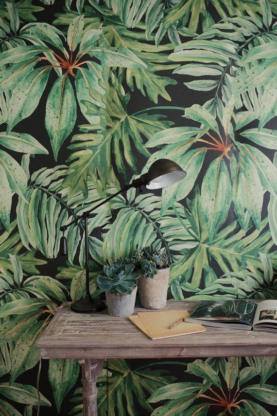 Un tema tendencia tropical, mural de hojas de plátano y fondos de pantalla! Perfecto para crear el un atractivo telón de fondo para una boda, fiesta