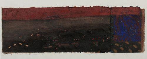 D-10.Apr.1991ミックスメディアペインティング/木製カットモノタイププリント、コラージュ、絵画32x95cm HAYASHI Takahiko林孝彦