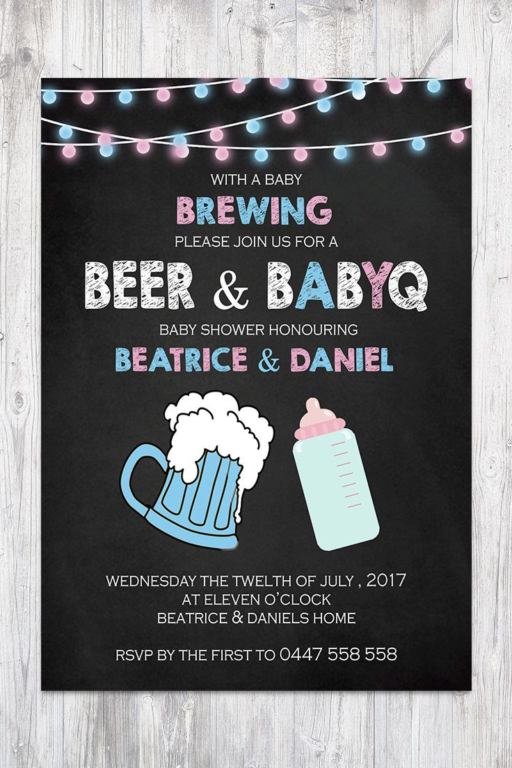 Baby Shower Invitation Boy or girl no gender Chalkboard Blue and pink String lights Beer BabyQ BBQ Co-ed Facebook Event Cover Image
