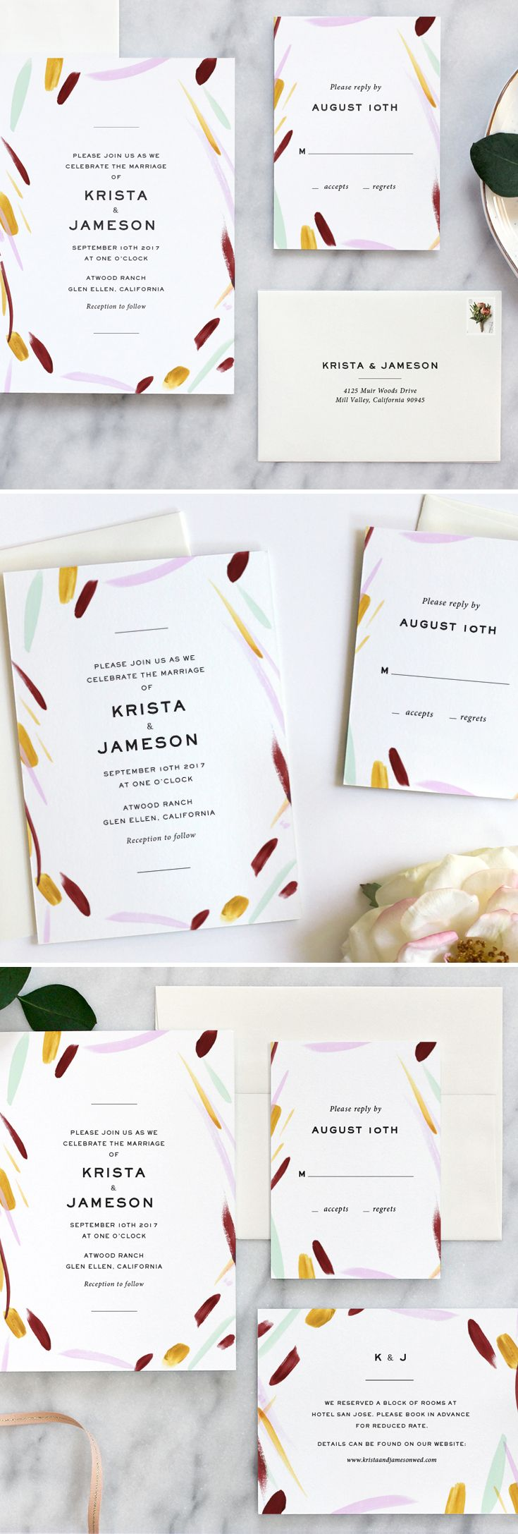 Modern wedding invitation suite by Fine Day Press