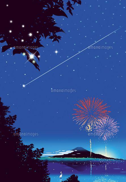 富士の花火と流星 (c)KAWANO Ryuji